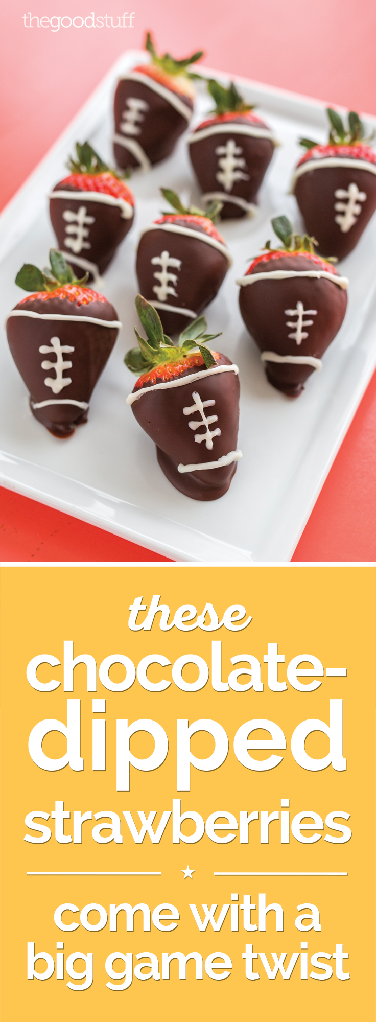 These Chocolate-Dipped Strawberries Come with a Big Game Twist | thegoodstuff