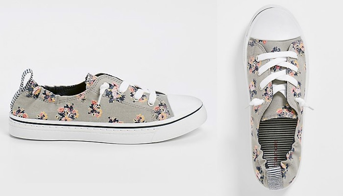 abdb2e3952a Canvas sneakers have a youthful air to them – but they re really suitable  for any age. The comfy stretchy fabric and cheerful floral print of these  ...