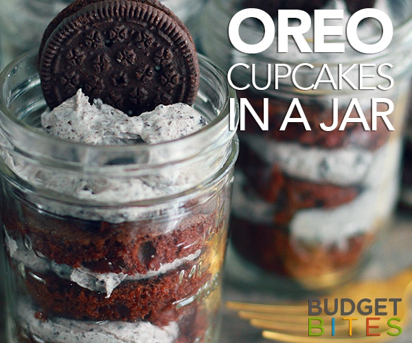 Cookies and Cream Cupcakes in a Jar | thegoodstuff