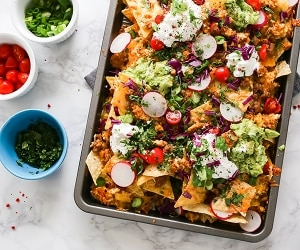 Sheet Pan Breakfast Nachos Recipe | thegoodstuff